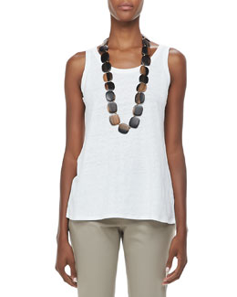 Eileen Fisher Slub Jersey Long Tank, White