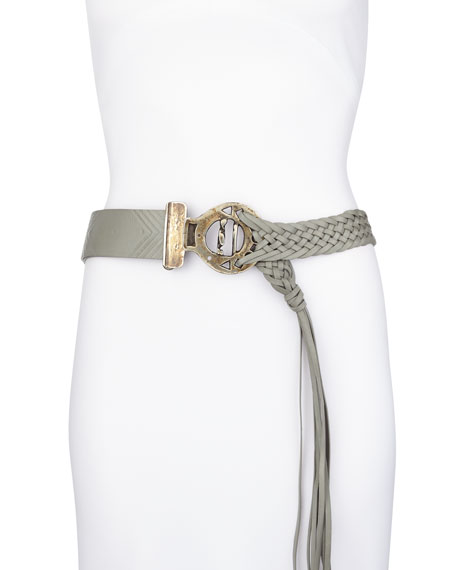 Fringe-End Braided Embossed Belt