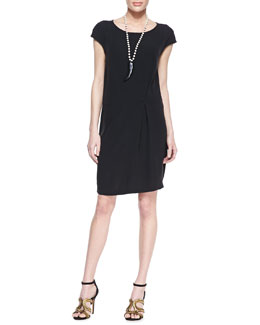 Eileen Fisher Silk Cap-Sleeve Shift Dress
