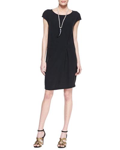 Eileen Fisher Silk Cap-Sleeve Shift Dress