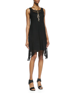 Eileen Fisher Sleeveless Crinkle Mesh Dress, Black
