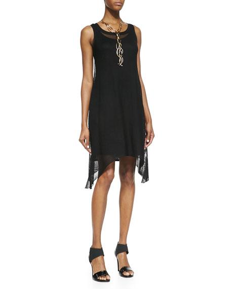 Sleeveless Crinkle Mesh Dress, Black