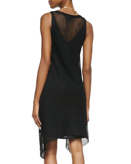 Sleeveless Crinkle Mesh Dress, Black, Petite
