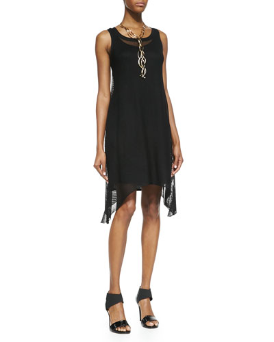 Eileen Fisher Sleeveless Crinkle Mesh Dress, Black, Petite