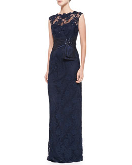 Teri Jon Sleeveless Lace Illusion-Neck Gown