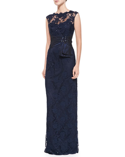 Rickie Freeman for Teri Jon Sleeveless Lace Illusion-Neck Gown