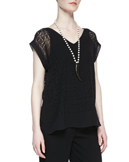 Eileen Fisher Laser-Cut Chiffon Top, Petite