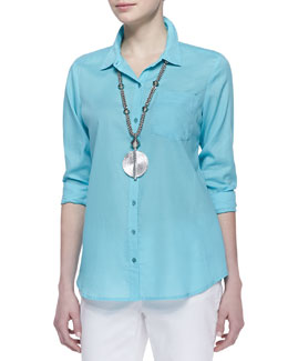 Eileen Fisher Organic Cotton Boxy Long-Sleeve Shirt