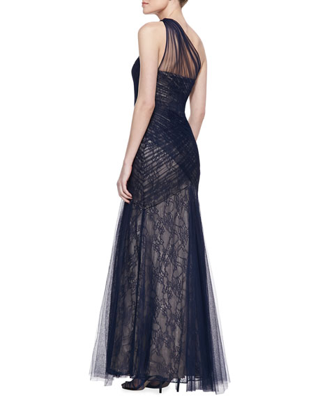ML Monique Lhuillier One-Shoulder Lace & Tulle Gown, Navy/Nude