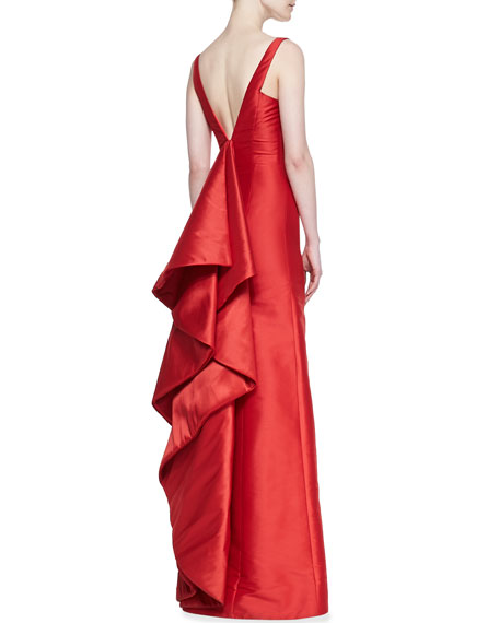 Sleeveless Cascading Ruffle Back Gown, Poppy