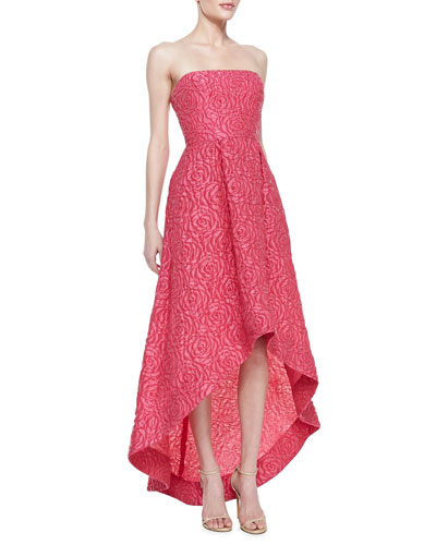 ML Monique Lhuillier Strapless Floral Texture High-Low Gown, Peony