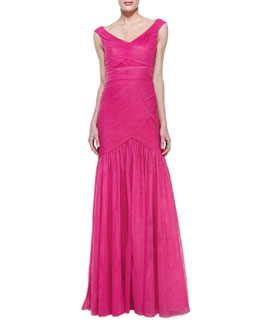 ML Monique Lhuillier Off-Shoulder Fishtail Gown, Azalea