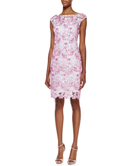 Cap-Sleeve Embroidered Lace Cocktail Dress, White/Azalea