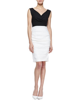 Nicole Miller Stretch-Linen Colorblock Sleeveless Dress