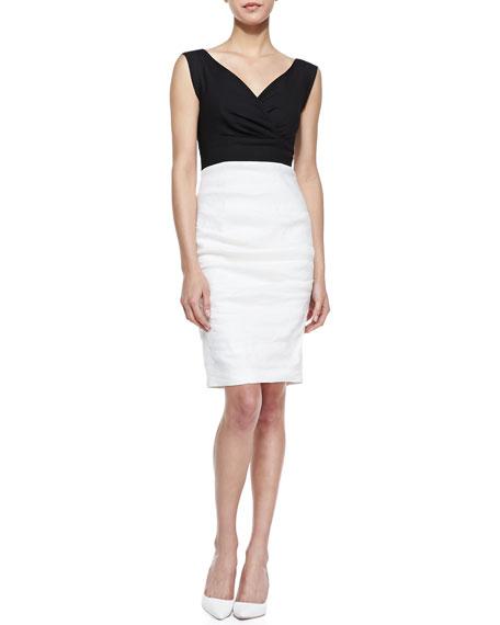Stretch-Linen Colorblock Sleeveless Dress