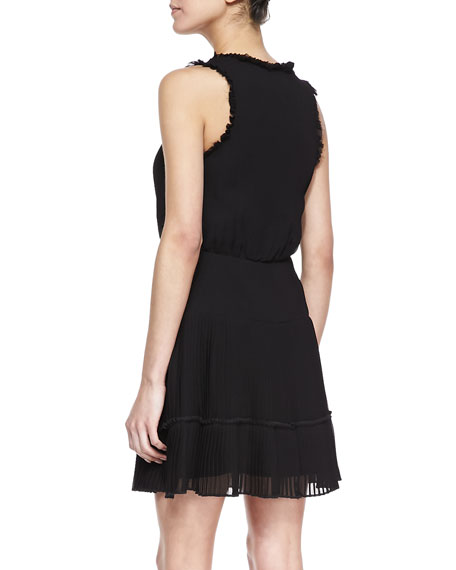 Sleeveless Ruffle Trim Cocktail Dress, Black