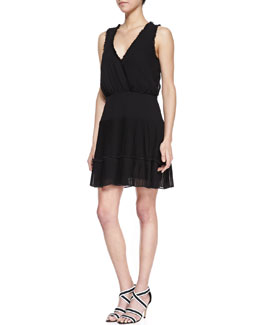 Nicole Miller Sleeveless Ruffle Trim Cocktail Dress, Black
