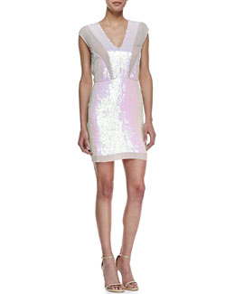 Nicole Miller Sleeveless Iridescent Sequin Cocktail Dress, Multicolor