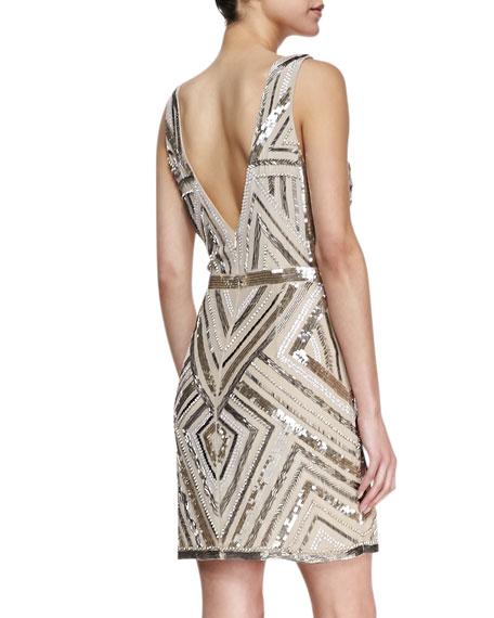 Chevron-Sequin V-Neck Cocktail Dress