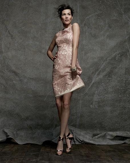 Sleeveless Illusion Bodice Cocktail Dress, Pink