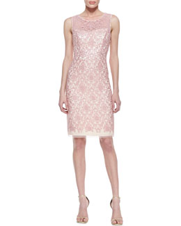 Kay Unger New York Sleeveless Illusion Bodice Cocktail Dress, Pink