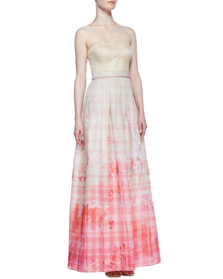 Strapless Floral Print Skirt Ball Gown, Ivory/ Pink