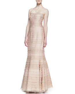 Kay Unger New York Strapless Tiered Lace Gown, Blush