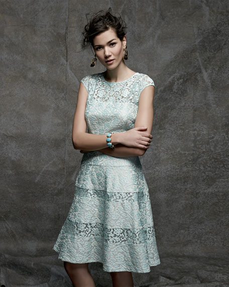 Tiered-Lace Cap-Sleeve Cocktail Dress, Mint