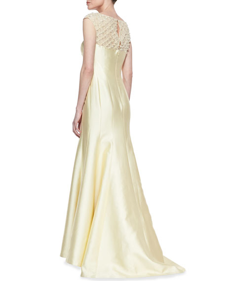 Lace Sleeve & Back Mermaid Gown, Butter