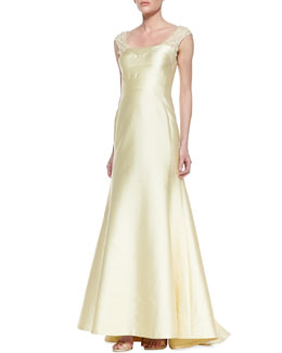 Kay Unger New York Lace Sleeve & Back Mermaid Gown, Butter