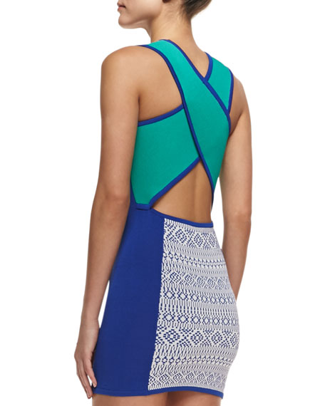 Cross-Back Colorblock Fitted Knit Dress