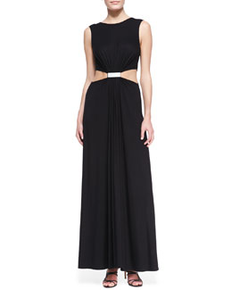 Cut25 by Yigal Azrouel Cutout-Waist Jersey Gown