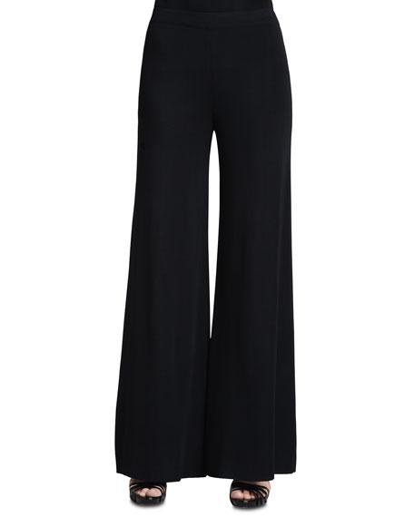 Fit & Knit Palazzo Pants, Black, Women's