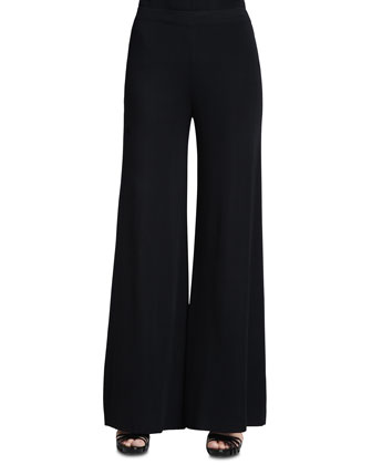 Fit & Knit Palazzo Pants, Black, Women's