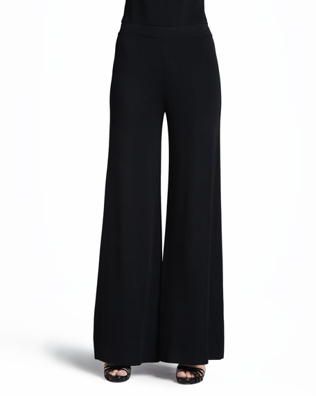 Fit & Knit Palazzo Pants, Black