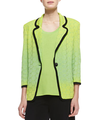 Ombre-Knit Contrast-Piping Jacket