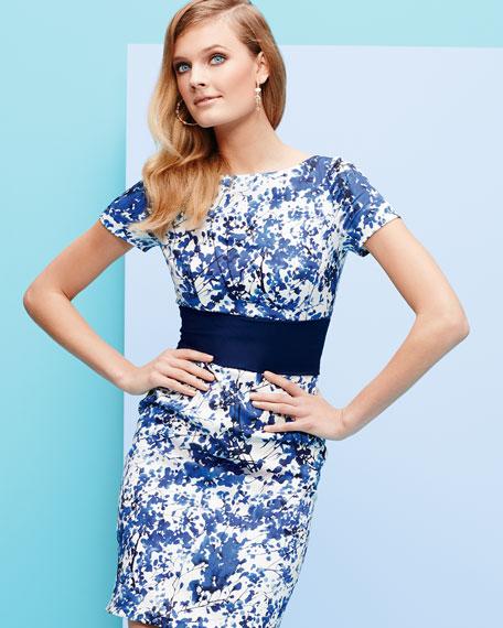 Short Sleeve Floral Print Cocktail Dress, White/Blue/Black