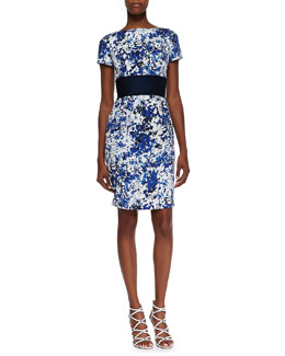 Theia Short Sleeve Floral Print Cocktail Dress, White/Blue/Black