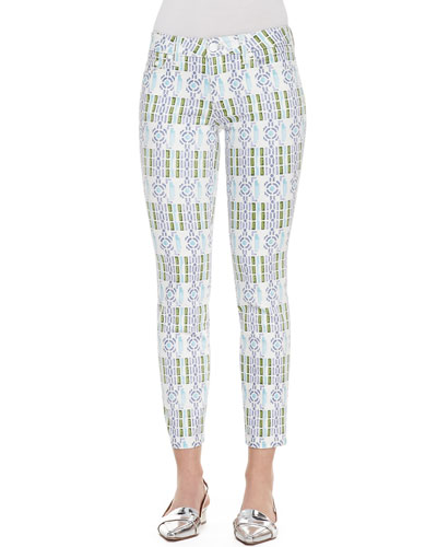 Tory Burch Alexa Printed Cropped Skinny Pants