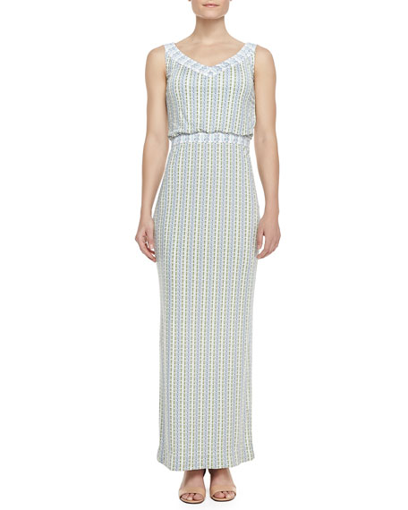 Micky Silk Mixed-Design Maxi Dress