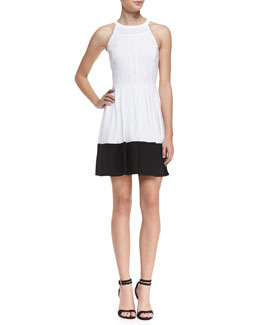 Ali Ro Halter Contrast-Hem Dress, Optic White/Black
