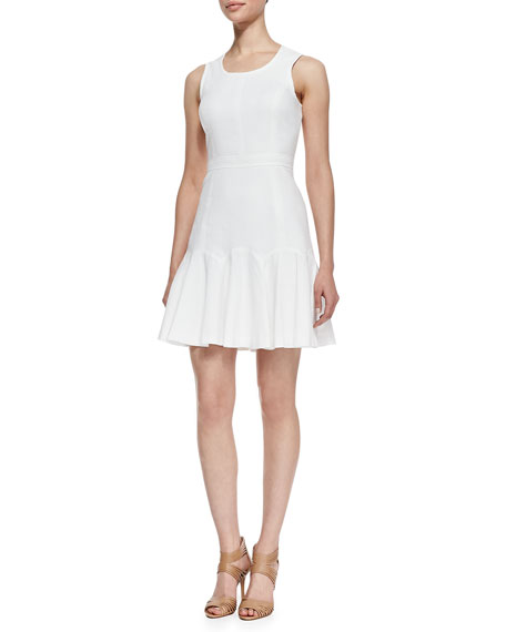 Sleeveless Fit-and-Flare Dress, White