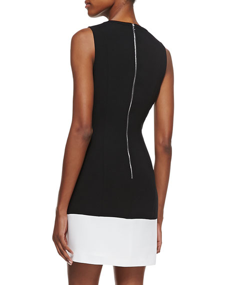 Halter Laser-Cut Sheath Dress, Black/Optic White