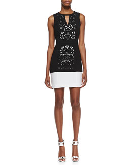 Ali Ro Halter Laser-Cut Sheath Dress, Black/Optic White