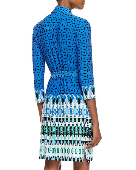 Belted Printed Jersey Dress, Multicolor