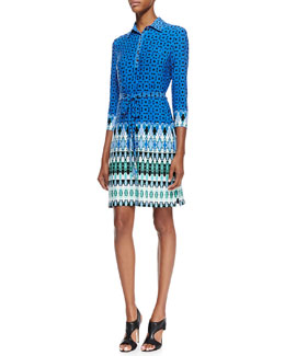 Ali Ro Belted Printed Jersey Dress, Multicolor