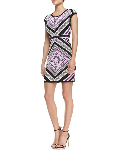Cap Sleeve Printed Sweaterdress, Multicolor