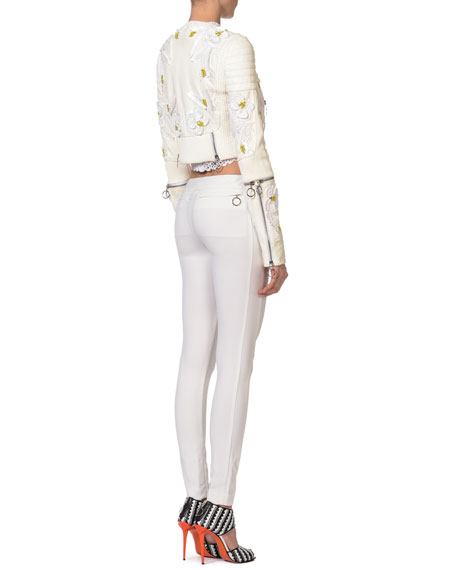 Embroidered Leather Jacket, White