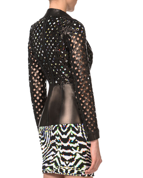 Lattice-Cut Leather Jacket, Black