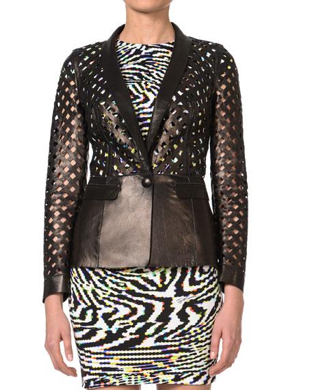 Lattice-Cut Leather Jacket, Black